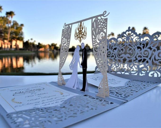 Featured listing image: Silver Pop up Wedding Invitation Pocket-Fold with Envelope – Unique Elegant Laser Cut 3D Design for Your Big Day – by Tada Cards