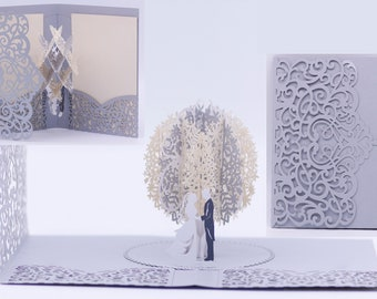 2019 Silver Laser Cut 3D Pop Up Wedding Invitations Designed by Tada Cards. (Arrive April 2019)