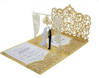 Hand Made Pop up Wedding Invitations with Gold Laser Cut Pocket-Folds. Customized Laser Cut Wedding Invitations & RSVP Cards With Envelopes