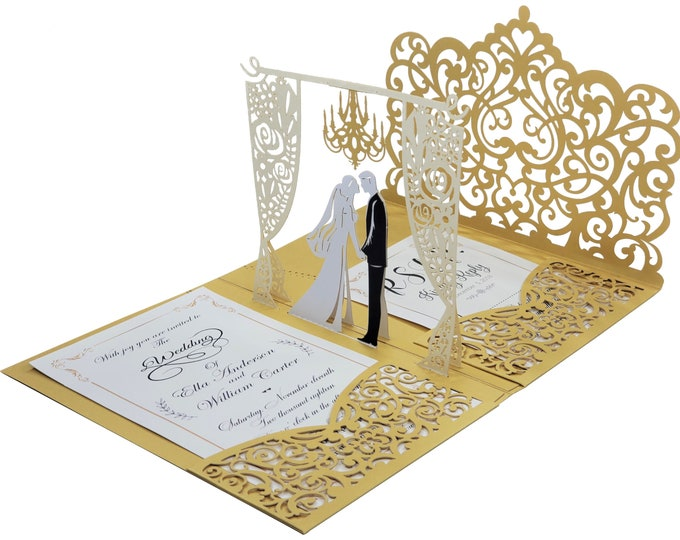 Featured listing image: Gold 3D Pop Up Wedding Invitation Set. Custom Printed Laser Cut Wedding Invitations + RSVP Cards + Envelopes + Return Address labels