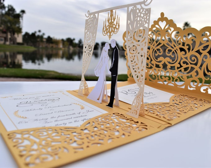 Featured listing image: Gold Laser Cut 3D Pop Up Wedding Invitations Designed By Tada Cards.