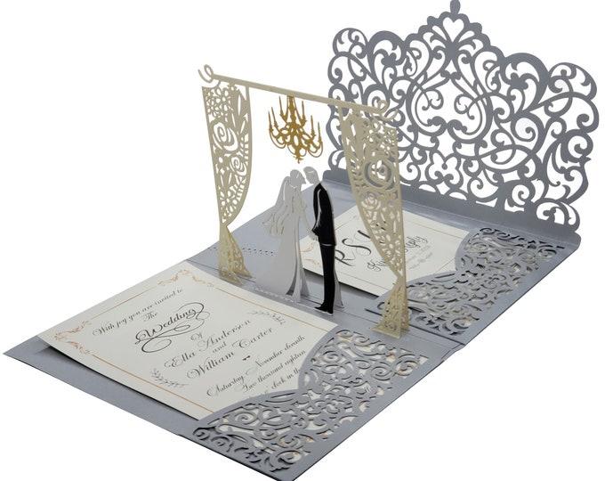 Featured listing image: Silver 3D Pop Up Wedding Invitation Set. Custom Printed Laser Cut Wedding Invitations + RSVP Cards + Envelopes + Return Address labels