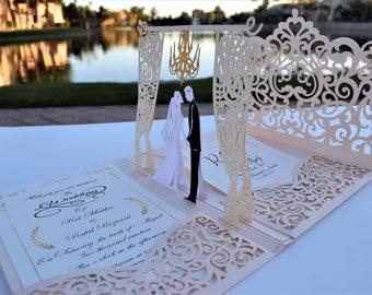 Rose Gold Laser Cut 3D Pop Up Wedding Invitations Designed By Tada Cards. (Arrive April 2019)