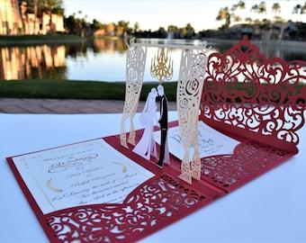 Red Laser Cut 3D Pop Up Wedding Invitations Designed By Tada Cards. (Arrive April 2019)