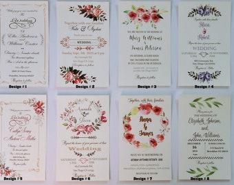 Custom Invitation Prints, Personalized Invitations. RSVP Card, Reception Card /Details information card.