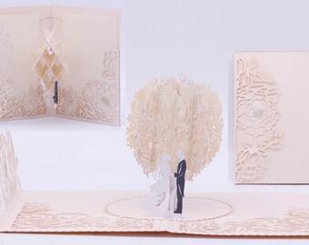 2019 Rose Gold Laser Cut 3D Pop Up Wedding Invitations Designed by Tada Cards. (Arrive April 2019)