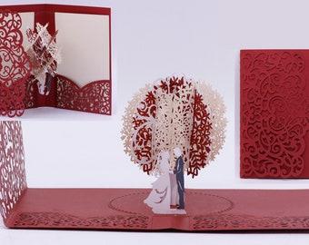 2019 Red Gold Laser Cut 3D Pop Up Wedding Invitations Designed by Tada Cards. (Arrive April 2019)