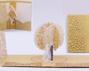 2019 Gold Laser Cut 3D Pop Up Tree Wedding Invitations (Arrive April 2019)