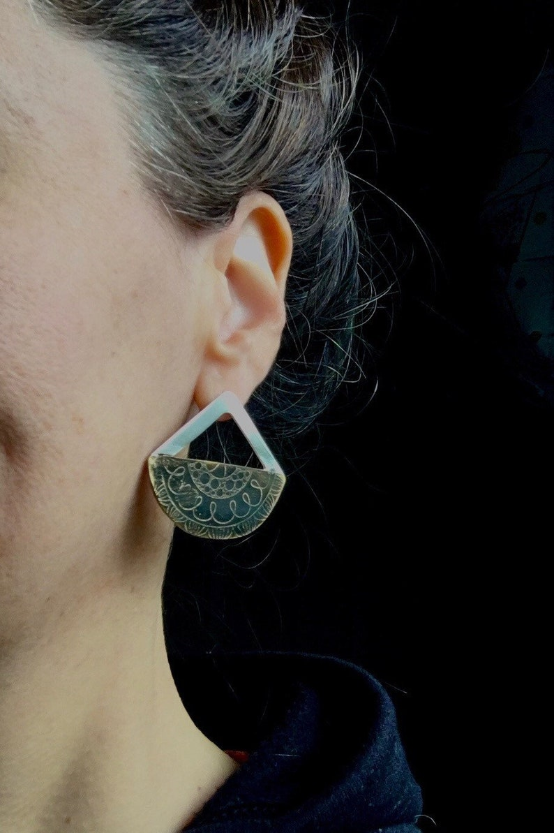 Etched Brass and Sterling Silver earrings