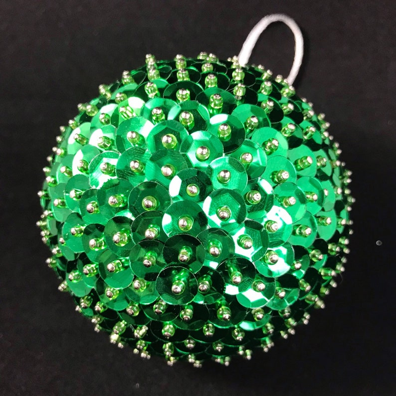 Available in 3 and 2.5 and 2 Green Sequin and Beads Christmas Ornament