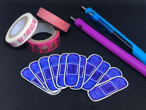 Self Harm Bandage Quote Stickers | PURPLE | Self Care Stickers | Recovery  Stickers | Unicorn Stickers | Colorful Stickers | Self Love Quotes