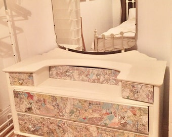 Hand Painted Map Decoupage Dresser Vanity Liverpool Dressing Table. Large Mirror