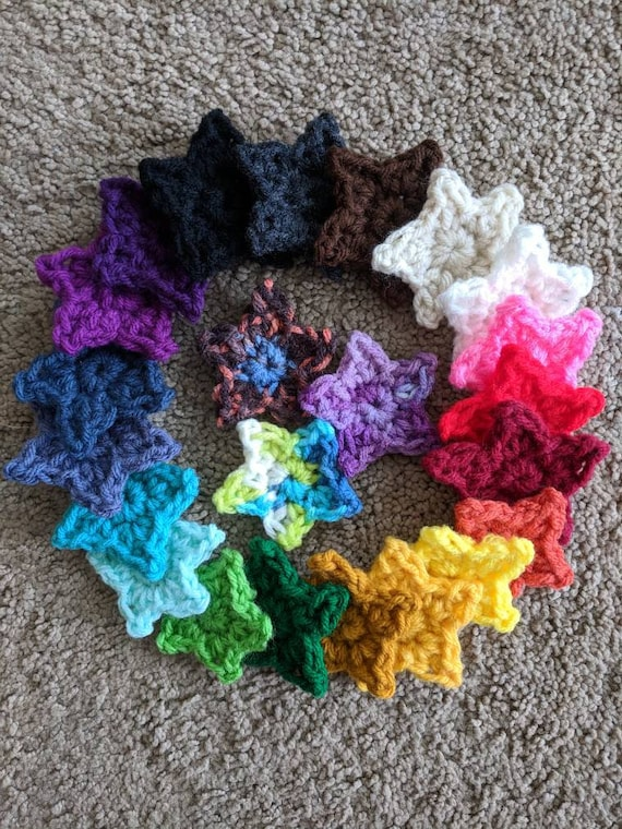 Crochet Star Applique Little Star Choose Your Star Two Inch Etsy