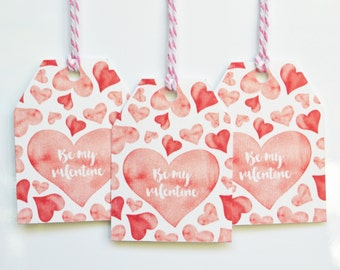 Be My Valentine Watercolour Gift Tags