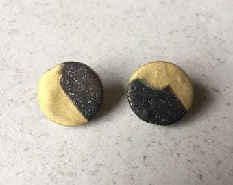 Black and Gold Polymer Stud Earrings
