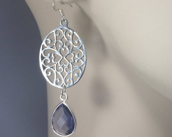 925 Sterling Silver Oval Earrings with Lolite Quartz Gemstones