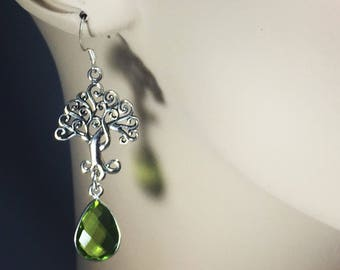 Sterling Silver Tree of Life Earrings with Green Amethyst Quartz