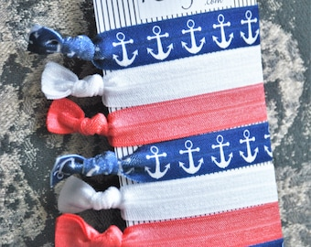 8 Navy Anchors White Blue Coral Handmade Elastic Trendy Hair Ties Ponytail Holder Knotted