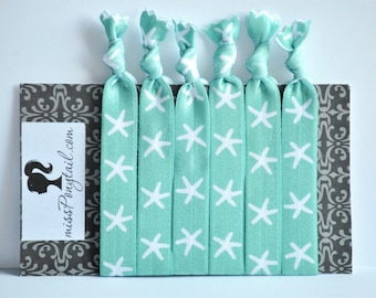 Starfish Hair Ties, BEACH THEME STARFISH, Sea Foam Green Handmade Trendy Ponytail Holders Knotted Elastic  missponytail