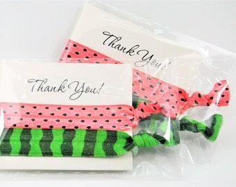 Watermelon Hair Ties, Party Favor Hair Ties, Coral, Green, Handmade Trendy Ponytail Holders Knotted Elastic Hair Ties