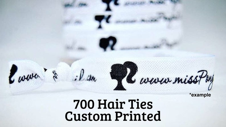 700 Custom Printed Elastic Hair Ties Add Any Text or Logo image 0