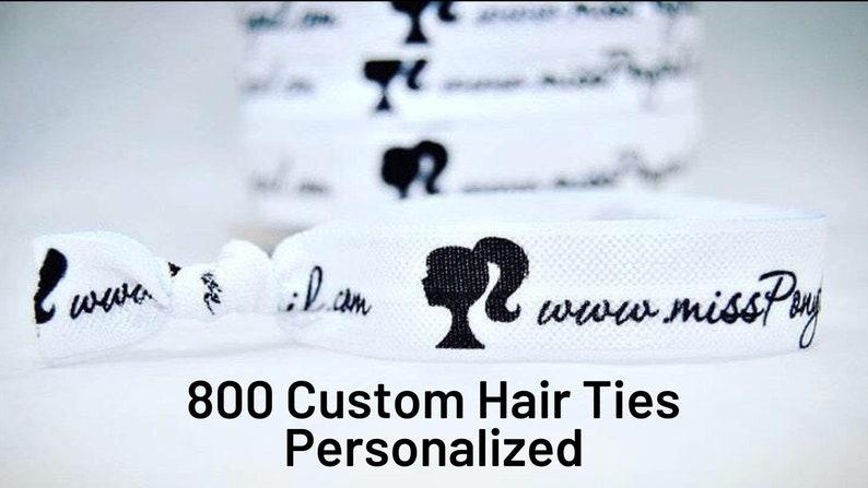 800 Custom Printed Elastic Hair Ties Add Any Text or Logo image 0