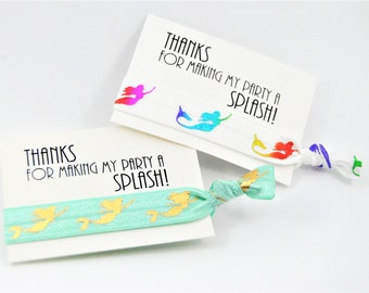 Mermaid Favor Hair Ties, Gold Foil, Thank You Cards, Birthday Girl, Mermaid Hair Ties, Knotted Handmade Ponytail Holders, Party Favors