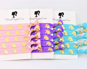 Unicorn Hair Ties, Pink, Blue, Purple, Knotted Hair Ties, Handmade Ponytail Holders, Elastic Hair Tie, Unicorn Party, Unicorns, MissPonytail