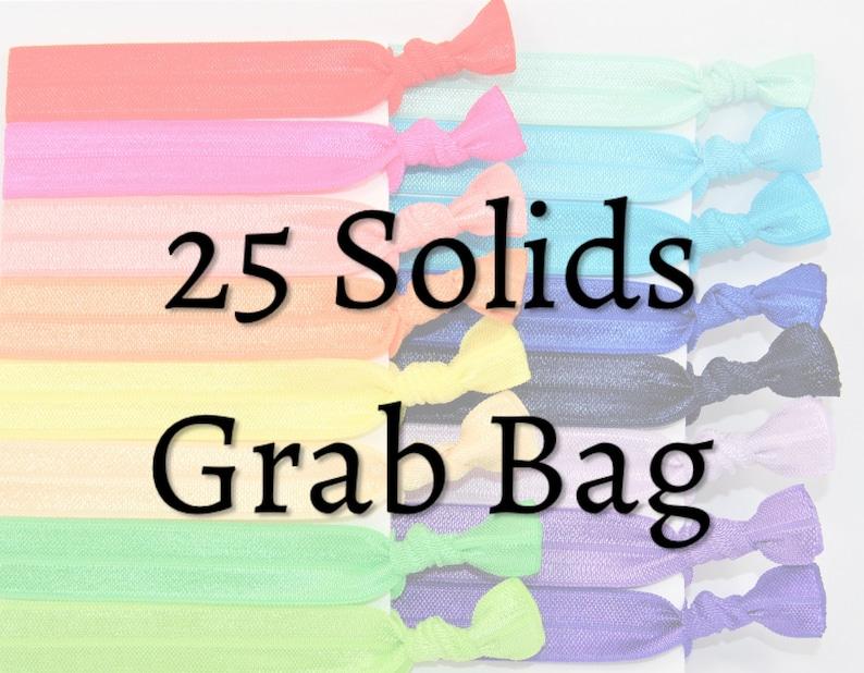 Hair Ties  25 Pack Solid Hair Ties GRAB BAG Handmade Trendy image 0