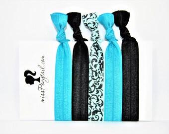 Elastic Hair Ties, Black Hair Ties, Mint, Handmade, Elastic Ribbon, Ponytail Holder, Knotted Hair Ties, Bracelet Hair Ties, Girl Gifts, FOE