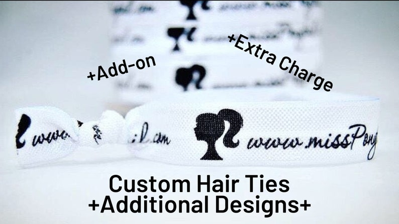Add-On to Custom Hair Ties Extra Charge Extra Designs of image 0