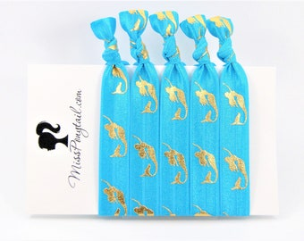 Mermaid Hair Ties, Blue, Gold Mermaids, Beach, Bulk Elastic Hair Ties, Knotted Hair Ties, Handmade, Ponytail Holders, missponytail