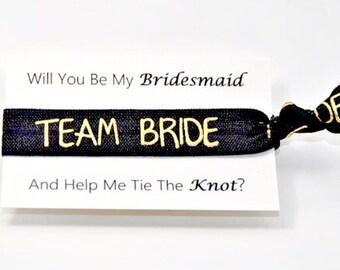 Team Bride Hair Ties, Bride Tribe, Bridesmaid Proposal, Bachelorette Favor, Gold Foil, Bridesmaids Hair Ties, Handmade Ponytail missponytail
