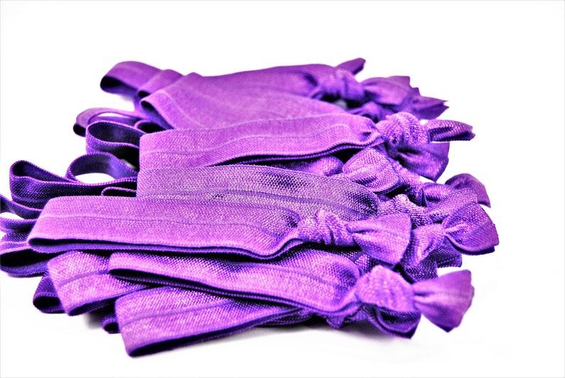 Purple Hair Ties Bulk Solid Knotted Hair Ties Yoga Hair image 0