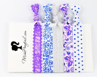 Elastic Hair Ties, Purple Lace, Blue Dots, Silver Glitter, Butterfly Hair Ties, Hair Accessories, Ponytail Holder, Knotted Hair Ties