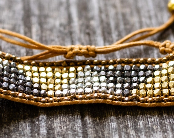Beaded Woven Cuff Bracelet with Tassels