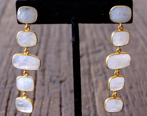 Moonstone Ladder Dangle Earrings