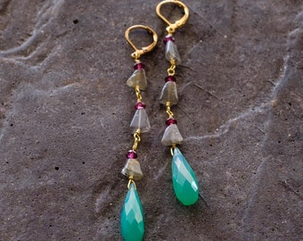 Chalcedony, Ruby and Labradorite Dangle Earrings