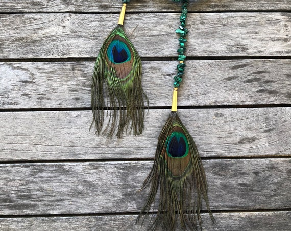 Malachite Lariat with Peacock Feathers