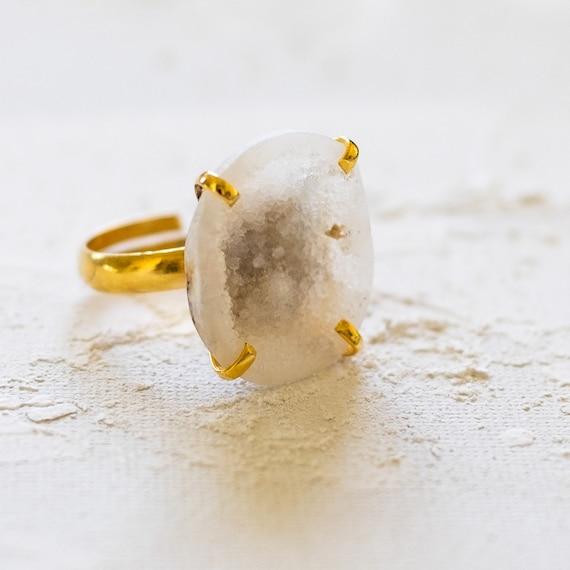 White Geode Druzy Adjustable Ring