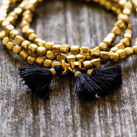 Boho Brass Beaded Stack Stretch Bracelets with Black Tassels