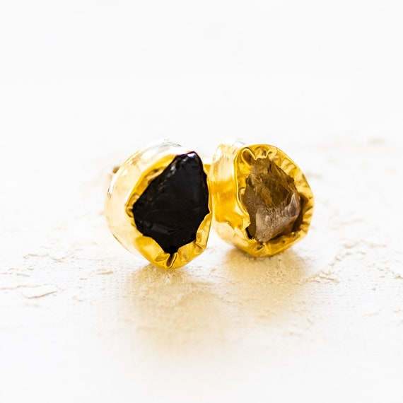 Raw Gemstone Adjustable  Ring in Amethyst and Citrine