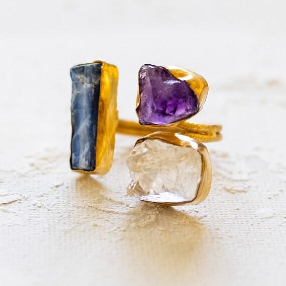 Raw Gemstone trio of Kyanite, citrine and amethyst Adjustable  Ring, festival rings, coachella rings, raw rough gemstone ring