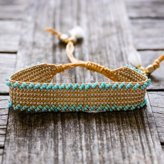 Turquoise Beaded Woven Cuff Bracelet with Tassels