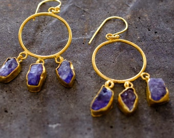 Amethyst Circle Dangle Earring