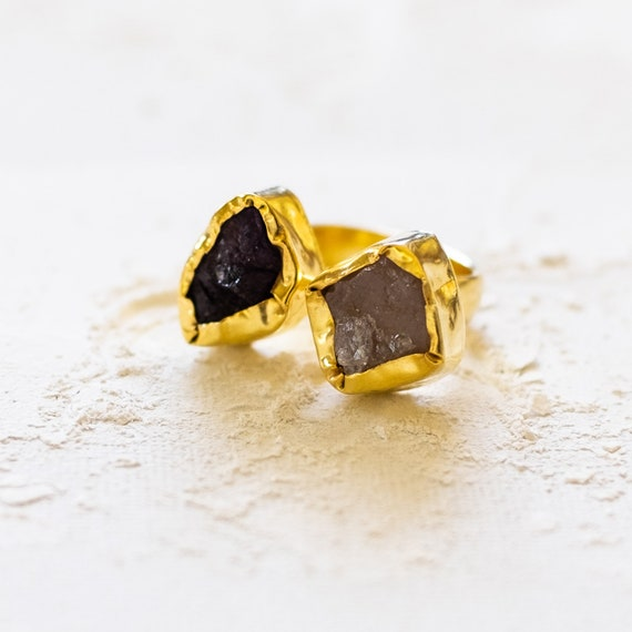 Raw Gemstone Adjustable  Ring in Rose Quartz and Amethyst