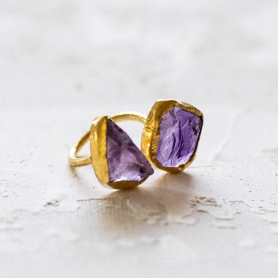 Raw Uncut Gemstone Amethyst Adjustable  Ring