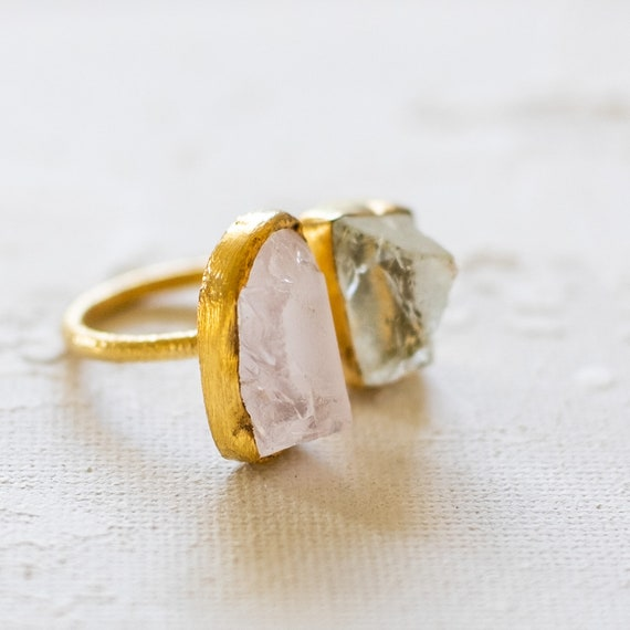 Raw Gemstone Rose Quartz and Aquamarine Adjustable  Ring