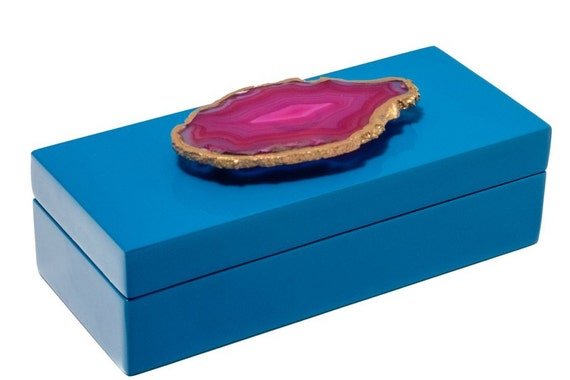 Small Blue Lacquer Box with Pink Agate
