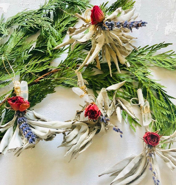White Sage Ornaments with Crystals
